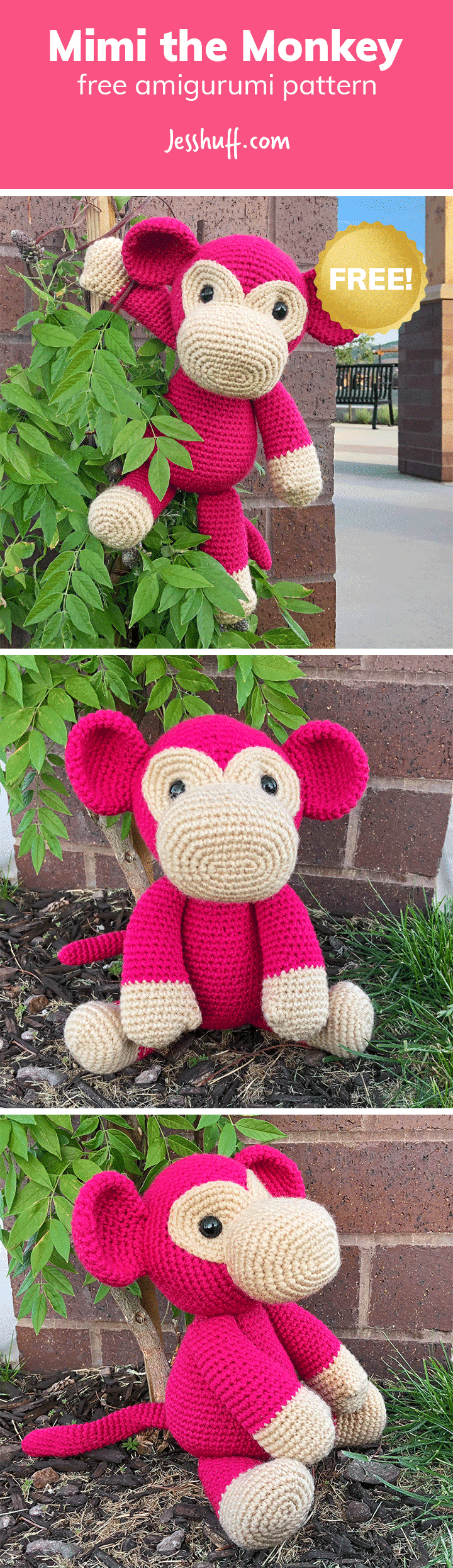Mimi the Monkey Free Amigurumi Pattern | Jess Huff